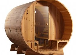 Barrel Sauna Knotty zijaanzicht - Infra4Health