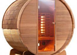 Barrel Sauna Infrarood Clear zijaanzicht- Infra4Health