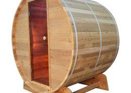 Barrel Sauna Infrarood Knotty zijaanzicht - Infra4Health