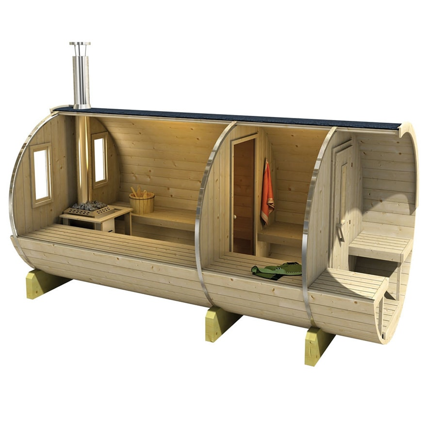 Barrel sauna 350/400 zijaanzicht