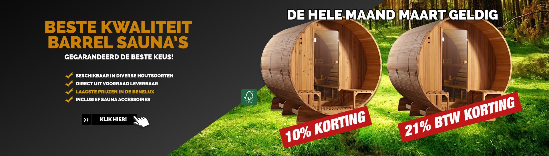 Barrel sauna actie