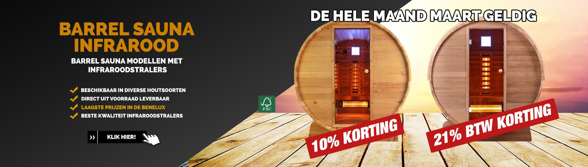 Barrel sauna infrarood actie