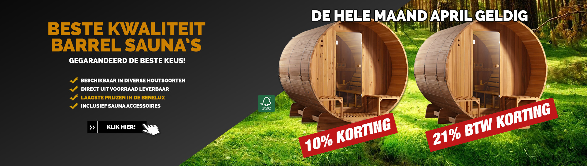 Barrel sauna April actie