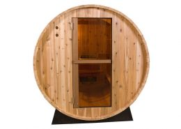 Barrel Sauna Rustic 6 ft. vooraanzicht