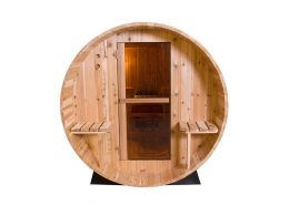Barrel Sauna Rustic 7+1 ft. vooraanzicht