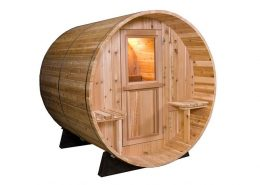 Barrel Sauna Rustic 7+1 ft. zijaanzicht